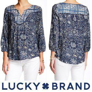 Lucky Brand Mixed Print Peasant Blouse Blue White